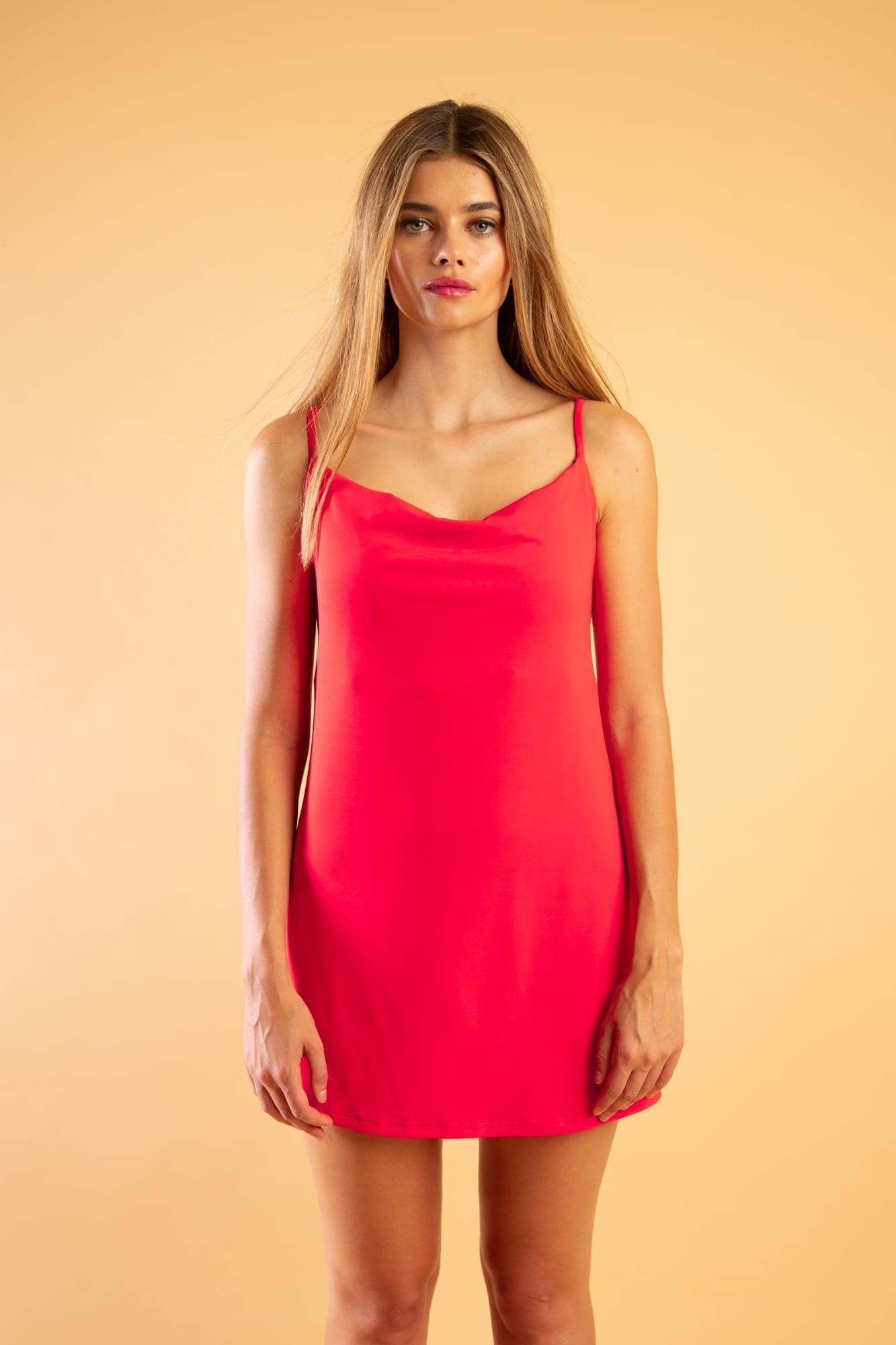 Red Slip Dress 34 -- 70s Lingerie Nightgown Lace Mini